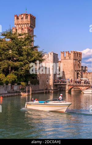 View of Scaliger Castle, Sirmione on Lake Garda, Lombardy, Italy, Europe