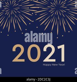 2021 new year firework background vector illustration EPS10 - Stock Photo