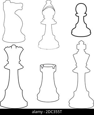 Vector Line Set of Black Sketch Chess Pieces. Full Chess Figures Collection