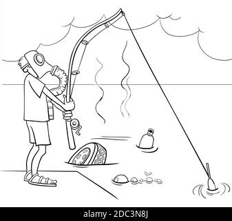 Coloring Page With Fishing Man Cartoon Stock Vector Image Art Alamy