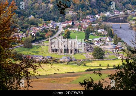 Looking down on Tintern Abbey in the Wye Valley from the Devil's Pulpit on Shorn Cliff, Tidenham Chase, Gloucestershire UK