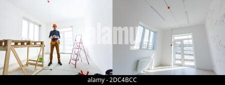 construction of the wooden frame of a roof Fibrerglass insulation installed in the sloping ceiling of a house. Construction of Drywall-Plasterboard