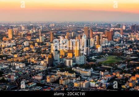 Wide Angle View of Bangkok, Thailand at Sunset