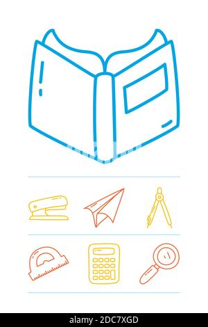 book and stationary icon set over white background, line doodle style, vector illustration Stock Photo