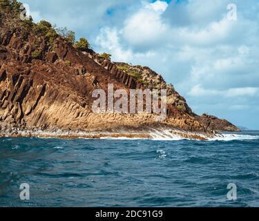 Waves crashing on rocky shores of St. Lucia