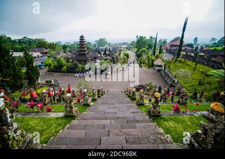 Besakih Temple (Mother Temple of Besakih, Pura Besakih) on the Slopes of Mount Agung, Bali, Indonesia, Asia, background with copy space - Stock Photo