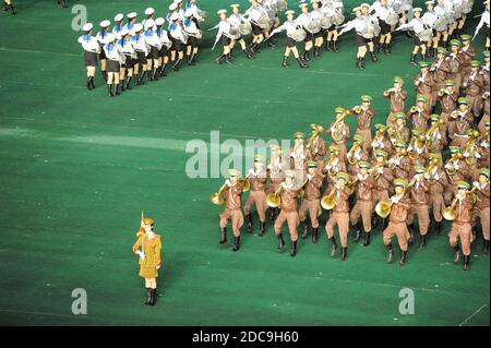 08.08.2012, Pyongyang, , North Korea - A military band will play brass music during the Arirang Festival and the mass games in the North Korean capita - Stock Photo