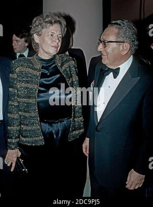 Washington DC, USA, November 27, 1984 Former Secretary of State Henry Kissinger and United States Ambassador to the United Nations Jeane Kirkpatrick attending The New Republic Magazine's 70th Birthday Celebration at the National Portrait Gallery - Stock Photo