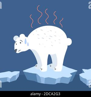 Global warming. Cartoon doodle illustration of a sad bear on melted ice. World problem. The threat of extinction of rare animals.