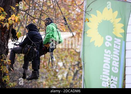 Wiesbaden, Germany. 20th Nov, 2020. Two activists hover in front of the flag of Bündnis90/Die Grünen. Activists from Robin Wood, environmental and nature conservation organisation, have occupied two trees in front of the party headquarters of the Hessian Greens in the state capital. The organisation is protesting against the clearings in connection with the expansion of the A49 and wants to remind the Greens in Hesse of their political responsibility. Credit: Andreas Arnold/dpa/Alamy Live News - Stock Photo