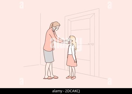 Healthcare, quarantine, protection, coronavirus infection concept. Cartoon characters mother putting medical face mask on kid child daughter face. Cov