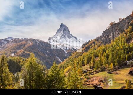 Landscape panoramic view of the Matterhorn Mountain, in Zermatt, Switzerland