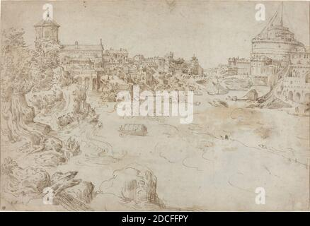Étienne Dupérac, (artist), French, c. 1525 - 1601/1604, View of the Castle Sant'Angelo and the Ospedale di Santo Spirito, c. 1552/1566, pen and brown ink on laid paper, overall: 28.4 x 41.6 cm (11 3/16 x 16 3/8 in