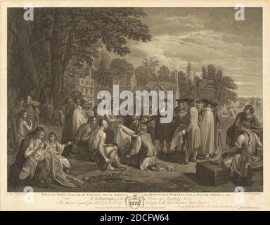 John Hall, (artist), British, 1739 - 1797, Benjamin West, (artist after), American, 1738 - 1820, William Penn's Treaty with the Indians, 1775, engraving, image: 42.55 × 58.74 cm (16 3/4 × 23 1/8 in.), sheet: 48.9 × 62.39 cm (19 1/4 × 24 9/16 in Stock Photo