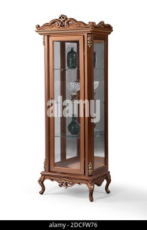 wooden display cabinet on white background . corner view - Stock Photo