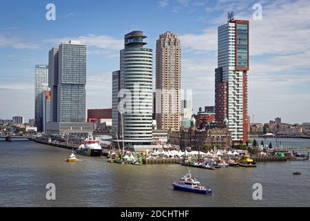 View on Rotterdam city highrise and the Erasmus Bridge in the Kop van Zuid neighorhood during the World Harbor Days. September 9, 2018