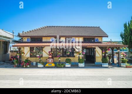 November 11, 2020: facade view of Rinan station in Taichung, Taiwan. It is a heritage wooden railway station  on the Taiwan Railways Administration We - Stock Photo