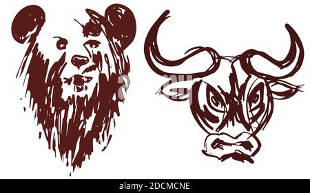 Hand drawn bear and bull heads silhouette isolated on white background as a symbol of bullish and bearish market, eps10 vector illustration. - Stock Photo