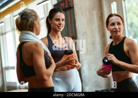 Group of three young beautiful fitness women resting after workout, talking and discussing sport results while standing at gym. Workout, training and healthy lifestyle