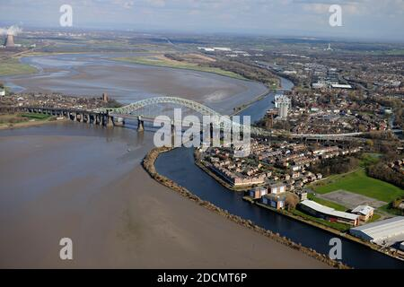 The Silver Jubilee Bridge Aerial View, also known as the Runcorn-Widnes Road Bridge from the Air. - Stock Photo