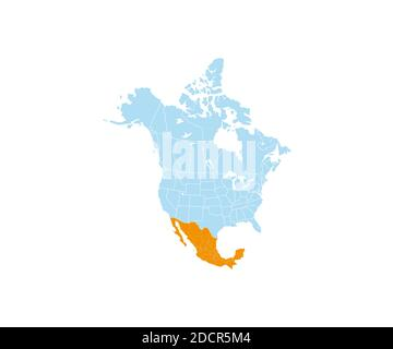 Mexico on North America map vector. Vector illustration. - Stock Photo