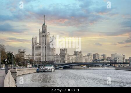 One Of Seven Stalin Skyscrapers: High-rise building on Kotelnicheskaya embankment and Moskva-river. Moscow Soviet Skyscraper Stock Photo