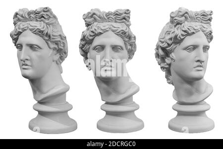 White gypsum copy of ancient statue of Apollo God of Sun head isolated on a white background. Plaster sculpture of man face. Renaissance portrait - Stock Photo