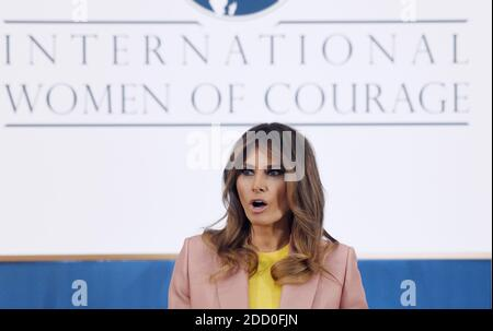 U.S. first lady Melania Trump speaks at the International Women of Courage awards at the State Department March 23, 2018 in Washington, DC. Photo by Olivier Douliery/ Abaca - Stock Photo