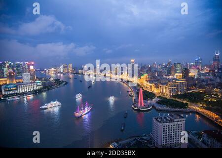 Shanghai urban construction scenery at night