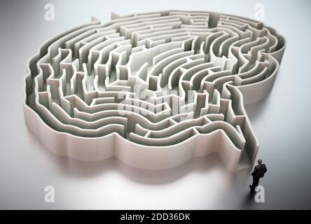 Businessman standing at the entrance of brain shaped maze 3D illustration.