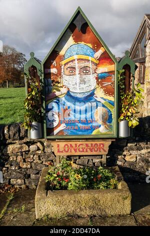 During lockdown traditional Peak District well dressings of flowers were cancelled so in the village of Longnor they painted this tribute to the NHS.