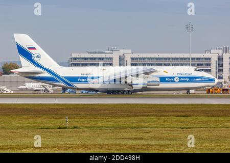 Munich, Germany - October 21, 2020: Volga-Dnepr Airlines Antonov An-124-100 airplane at Munich Airport in Germany. - Stock Photo