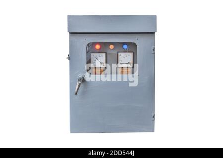 Electrical control Cabinet isolated on a white background. Object with clipping path. - Stock Photo
