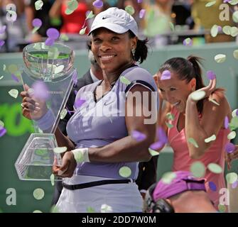 NO FILM, NO VIDEO, NO TV, NO DOCUMENTARY - Serena Williams, of the United States, holds her trophy after defeating Jelena Jankovic, of Serbia, in the finals at the Sony Ericsson Open in Key Biscayne, FL, USA on April 5, 2008. Photo by Al Diaz/Miami Herald/MCT/Cameleon/ABACAPRESS.COM