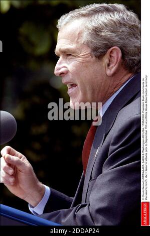 NO FILM, NO VIDEO, NO TV, NO DOCUMENTARY - © Chuck Kennedy/KRT/ABACA. 34839-3. Washington-DC-USA, 17/05/2002. President Bush comments on the security briefs about terrorist attacks prior to September 11th at a White House Rose Garden ceremony. - Stock Photo