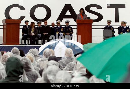 NO FILM, NO VIDEO, NO TV, NO DOCUMENTARY - First lady Michelle Obama speaks during a ceremony for the Coast Guard Cutter Stratton on Coast Guard Island in Alameda, CA, USA ON March 31, 2012. The first lady made the trip to California to join in the commissioning ceremony placing the ship into active service. Photo by Anda Chu/Oakland Tribune/MCT/ABACAPRESS.COM - Stock Photo