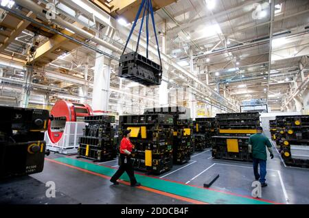 NO FILM, NO VIDEO, NO TV, NO DOCUMENTARY - Cranes move large dies at the Tesla auto plant in Fremont, Ca, USA, Tuesday, June 12, 2012. Palo Alto-based Tesla Motors plans to deliver its first Model S on June 22. Photo by Patrick Tehan/San Jose Mercury News/MCT/ABACAPRESS.COM - Stock Photo