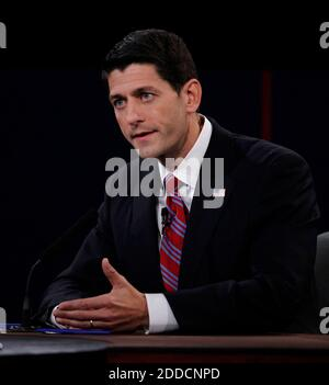 NO FILM, NO VIDEO, NO TV, NO DOCUMENTARY - Congressman Paul Ryan during the Vice Presidential Debate at Centre College in Danville, Kentucky. Photo by Mark Cornelison/Lexington Herald-Leader/MCT/ABACAPRESS.COM