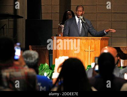 NO FILM, NO VIDEO, NO TV, NO DOCUMENTARY - Mayor Andrew Gillum gets a standing ovation while addressing supporters and urging them to keep politically engaged as the Broward County of Supervisor of Elections Office has five days to recount votes cast over an entire month leading up to the midterm election on Tuesday, November 6, 2018. Gillum held a faith-based recount rally inside New Mount Olive Baptist Church in Fort Lauderdale, FL, USA on Sunday, November 11, 2018. Photo by Carl Juste/Miami Herald/TNS/ABACAPRESS.COM - Stock Photo