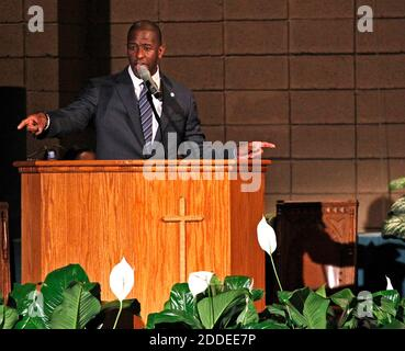 NO FILM, NO VIDEO, NO TV, NO DOCUMENTARY - Mayor Andrew Gillum addresses supporters and urges that they keep politically engaged as the Broward County of Supervisor of Elections Office has five days to recount votes cast over an entire month leading up to the midterm election on Tuesday, November 6, 2018. Gillum held a faith-based recount rally inside New Mount Olive Baptist Church in Fort Lauderdale, FL, USA on Sunday, November 11, 2018. Photo by Carl Juste/Miami Herald/TNS/ABACAPRESS.COM - Stock Photo