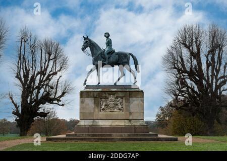 The Golden Jubilee Statue of Queen Elizabeth II on horseback in Windsor Great Park, Berkshire, UK - Stock Photo
