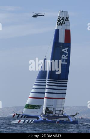The SailGP F50 catamaran in racing during SailGP final in Marseille, France on September 19, 2019. SailGP is racing takes place in some of the most iconic harbors around the globe and culminates with a $1 million winner-takes-all match race. Rival national teams battle it out in identical supercharged F50 catamarans, engineered for intense racing at electrifying speeds exceeding 50 knots (nearly 60 mph/100 kph) and Marseille is the final event. Photo by Patrick Aventurier/ABACAPRESS.COM - Stock Photo