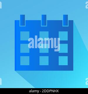 Calendar icon in trendy flat style. Blue with shadow. Symbol for design. Vector illustration - Stock Photo