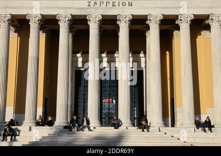 People apply social distancing in front of the Zappeion Hall, during the coronavirus disease (COVID-19) pandemic, in Athens, Greece, November 26, 2020. REUTERS/Alkis Konstantinidis