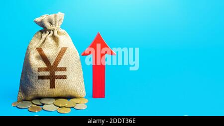 Yuan Yen money bag with red arrow up. Raising taxes. Increase in profitability and prosperity, higher living standards. Deposit interest. Recovery of