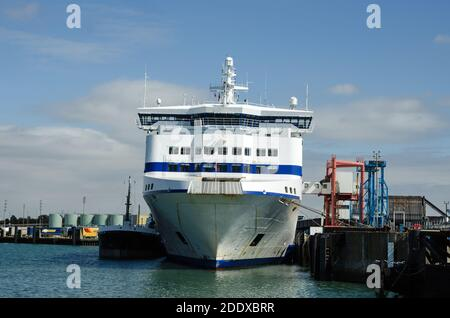 Portsmouth, UK - September 8, 2020:  Head on view of the prow of Normandie a cross channel passenger ferry operated by Brittany Ferries and moored at - Stock Photo