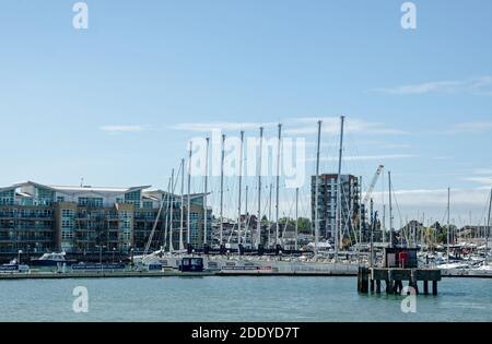 Gosport, UK - September 8, 2020: View of Gosport Marina with a number of yachts involved in the Clipper Round the World race moored in the sunshine. - Stock Photo