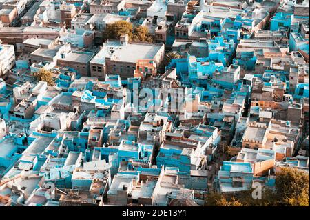 Aerial view of the old town of Jodhpur, India's Blue City, a famous tourist destination in Rajasthan and a Unesco World Heritage Site