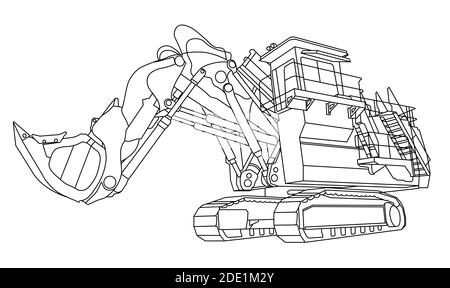 Excavator Coloring Page Stock Vector Image Art Alamy