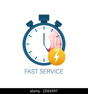 Fast service. Fast delivery icon, timely service, stopwatch. Vector stock illustration. - Stock Photo